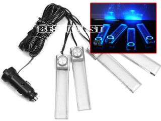 Car Charge 12V 4in1 LED Interior Decoration Floor Decorative Light Lamp Blue New