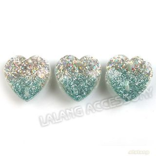 100 Shinny Heart Resin Flatback Beads Buttons Lots 14mm Findings Applique 24650