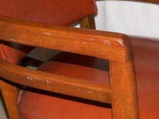 Mid Century Modern Burnt Orange Leather Executive Desk Swivel Chair by Jasper