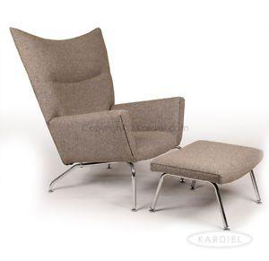 hans j wegner style wing chair ottoman oatmeal twill danish modern