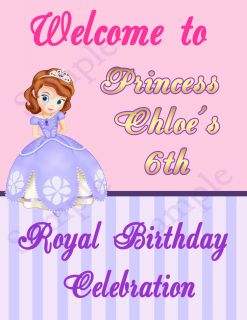 Princess Sofia The First Gold Birthday Party Welcome Sign Door Banner Laminated
