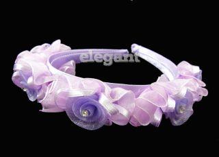 Purple Rosette Children Kids Wedding Flower Girls Headband Hair Band