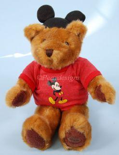 "Disney Mickey Mouse Bear Red Tshirt Ears 18"" Plush"