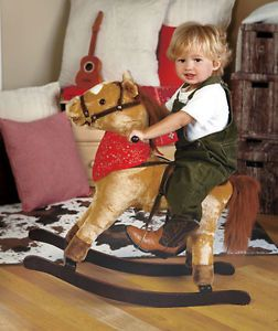 Rocking Horse Vintage Ride Toy Wooden Pony Kids Antique Tricycle Wood Toddler