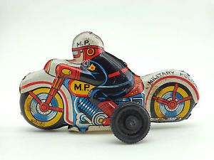 Vintage Millitary Police Kids Toy Tin Car Wheel Motorcycle Lithograph Friction