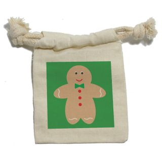 Cute Gingerbread Man Cookie Christmas Muslin Cotton Gift Party Favor Bags