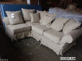 ... Pottery Barn Charleston Sofa Sectional Slipcover White Twill W Chair On  End ...