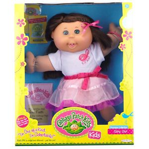 "Cabbage Patch Kids 14"" Doll Girly Girl with Brown Hair Blue Eyes"