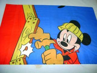 Mickey Mouse Pluto Construction Pillowcase Fabric