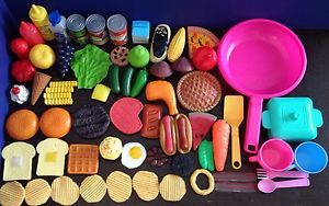 Big Lot Pretend Play Food Dishes Cans Chips for Preschool Toddler Toy Kitchen