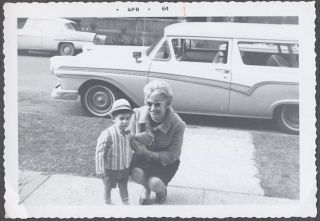 Vintage Car Photo Pretty Girl Cute Boy w 1957 Ford Ranch Wagon 937481