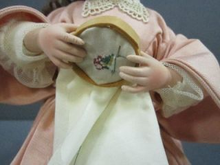 Porcelain Doll with White Round Cushion Chair 6338F Embroidery Hoop Doll