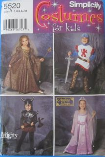 Children's Halloween Costume Viking Medieval Knight Sewing Pattern 5520 Kids 3 8