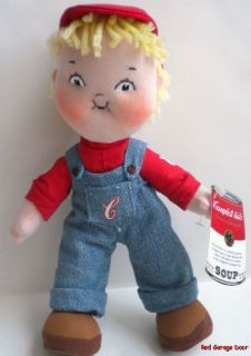 """Campbell Kids Boy Doll Century Edition 2004 Soft Doll Stuffed 9"""" Advertising Toy"""
