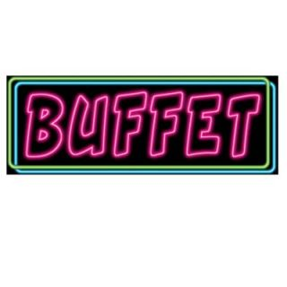 "Casino Night Theme Party Neon Buffet Sign 8""X22"""