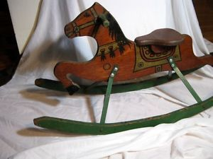 Antique 1930's Hand Painted Folk Art Rocking Horse Childs Toy Art Deco Well DONE