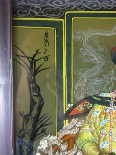 Deco Era Chinese Ancestral Reverse Glass Painting Exquisite