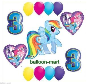 My Little Pony Rainbow Dash 3rd Birthday Party Supplies Balloons Set Three Third