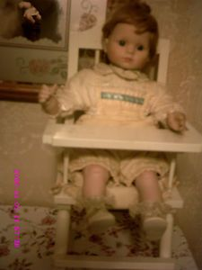 Vintage 18 inch Porcelain Doll Baby Original Outfit Wood High Chair Duck Design