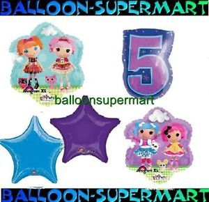 5 Balloons Lalaloopsy Rag Dolls 5th Birthday Supplies Fifth Party Five Girls XL