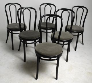 Set of 6 Fully Restored Vintage Thonet Bent Wood Cafe Chairs More Available