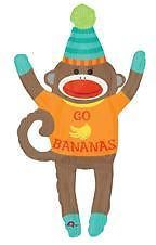 Sock Monkey Happy Birthday Balloon Mylar Go Bananas Party Supplies Favors New