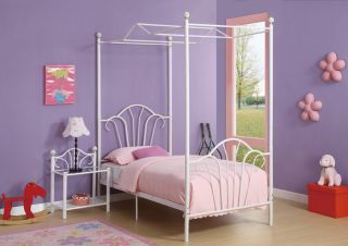 New Elegant Youth Kids Girls White Durable Metal Princess Twin Canopy Slats Bed