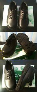 Clarks Clark School Shoes Childrens Kids Boys Girls Black Leather Lace Up BNIB