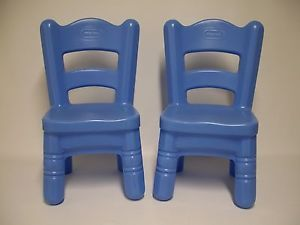 Set of 2 Little Tikes Blue Tender Heart Child Size Victorian Table Chairs