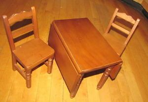 American Girl Molly Drop Leaf Wooden Table Chairs Pleasant Company Discontinued