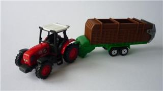 Boys Kids Toy Red Farm Tractor Cattle Trailer Diecast Plastic Boxed Present