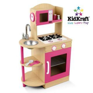 KidKraft Modern Pink Wooden Kitchen Girls Kids Play Set