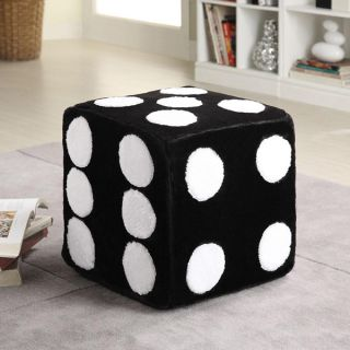 Contemporary Black Dice Ottoman Chair Footstools Poufs Plush Foam Soft Bedroom