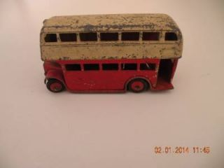 Vintage Dinky Toys Metal Die Cast Double Decker Bus Red White England