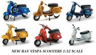New Ray Vespa Motor Scooters Set of 6 Diecast Scooters 1 32 Scale S2
