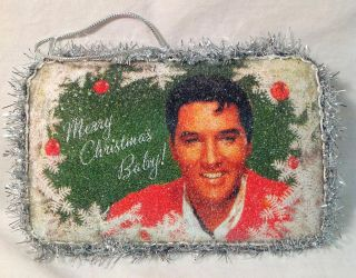"Kurt Adler 6"" Elvis Presley Decoupage Beaded Postcard Christmas Ornament EP9135"