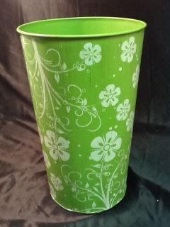 Green and White Metal Decoupage Handmade French Bucket Perfect for Flower Pail