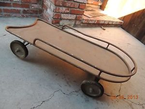 Vintage Kid's Red Wagon Childs Pull Toy Art Deco Antique Murray Old Nice Shape