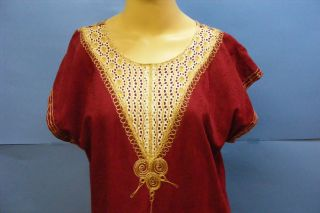 Vtg Morocco Moroccan Womens Embroidered Burgundy Galabiya Islamic Arabic Dress