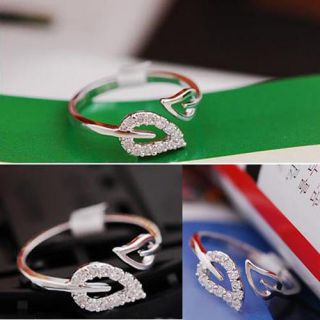Fashion Ladies Girl Cute Lovely Crystal Alloy Graceful 2 Leaves Elegant Ring SI