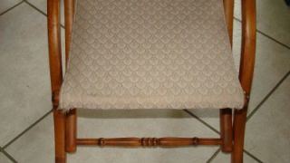 Vtg Antique Victorian Folding Wood Chair Carpet Canvas Sewing Seat