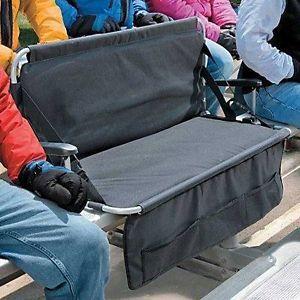 Folding 2 Person Stadium Bleacher Seat Chair Cushion w Arms Pockets