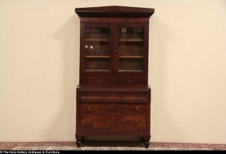 Empire 1830's Antique Secretary Desk Bookcase