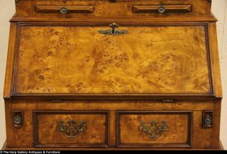 Burl Vintage Secretary Desk Bookcase Top Glass Doors
