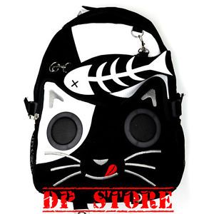 Jawbreaker Gothic Skull Cat Speaker Work N iPod iPhone MP3 Punk Emo Bagpack Bag