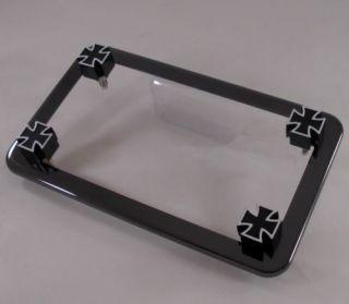 Black Chrome Motorcycle License Plate Frame 4 Black Iron Cross Fastener Bolts