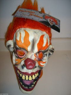 Psycho Killer Fire Clown Mask Brand New Latex Super Creepy Evil Clown