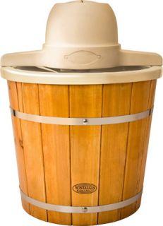 4 Quart Electric Ice Cream Maker Machine w Old Fashion Wooden Slat Style Bucket