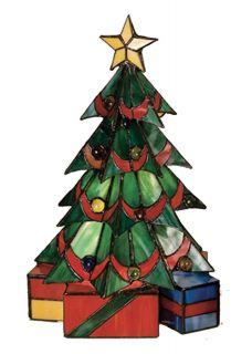 """Meyda Tiffany 16""""H Stained Glass Christmas Tree Lamp Figurine Lighted Sculpture"""
