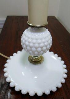 Vintage Fenton White Milk Glass Hobnail Boudoir Beaded Base Table Lamp Light